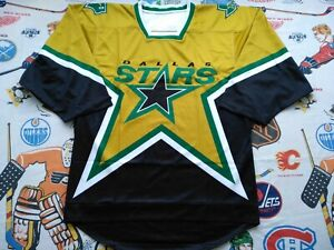 New Mens M Early 00s Custom Dallas Stars Lost 3rd Jersey Mustard Reverse Retro