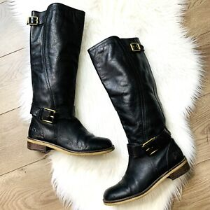 LUCKY BRAND Black Leather Knee High Riding Boots Size 10 M