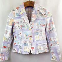 Max Mara blazer gr DE 38 US 8 UK 10 Baumwolle Colorful Print Jacke Casual e13
