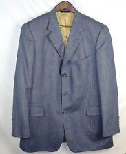 Brooks Brothers Silk Wool Linen Jacket 44L Long Blazer Blue Windowpane Sport G39