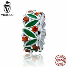 VOROCO Orange CZ Spacer Charms Sterling Silver With Green Enamel Fashion Deisgn
