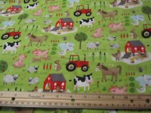 2 Yards Green Farm Animal/Barn/Tractor/Cow/Horse/Pig/Sheep/Duck Flannel Fabric