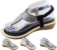 Womens Low Wedge Toe Post Sandals Ladies Diamante Summer Soft Sole Shoes