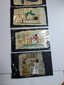 Vintage Handpainted Silk Egyptian African Aztec Indian Bull Man women Art mummy