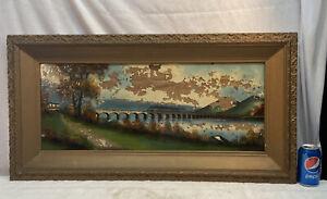 Vtg Earky1900's Reverse Hand Painting River Bridge Cottage USA Flag Ornate frame