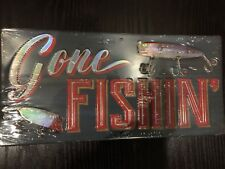 GONE Fishing Tin Metal Sign Retro Vintage with Lures.