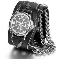 Gothic Cross Biker Leather Watch Punk Vintage Byzantine Link Chain Bracelet Mens