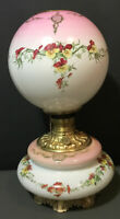 """Large Wide Antique GWTW Hand Painted Milk Glass Oil Lamp~Floral~19.5""""tall~Elect"""