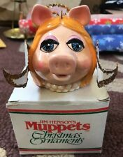 1981 Vintage Miss Piggy's Face Muppets Christmas Ornament In Box