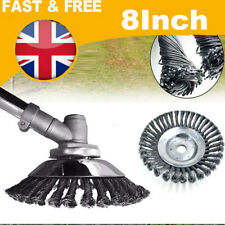 "8"" Grass Strimmer Head Solid Steel Wire Wheel Garden Weed Moss Trimmer Brush"