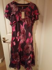 Jacques Vert Size 14 Maxi Dress With Silk Pink And Grey