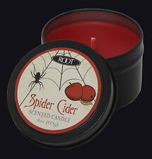 ROOT CANDLES HALLOWEEN TRAVEL TIN SCENTED CANDLE SPIDER CIDER. RED CANDLE.