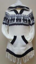 Alpaca Hoodie Sweater White Handwarmer Pockets Hood Fringe Llama Design