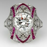 Antique Art Deco 2.00 CT Diamond & Ruby Ring In 14K White Gold Over Wedding Ring