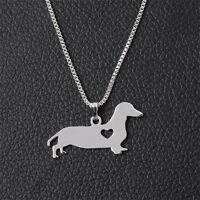 Halskette mit Anhänger Dackel Teckel silber Hund Welpe Valentinstag Geschenk NEU