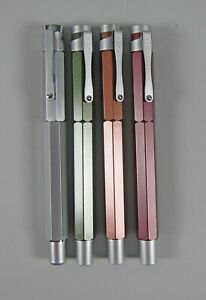 Set of 4 Levenger L-Tech Rollerball Pens 4 Colors Hexagonal Form
