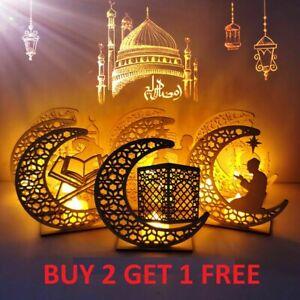 Eid Mubarak Ramadan Wooden Moon Star Ornament Muslim Mosque Islam Décor Pendant
