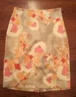 Ann Taylor Women's Silk Stretch Skirt Floral Pencil Lined Sz 4 Ivory Pink Peach