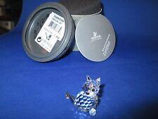Swarovski Crystal Mini Sitting Cat  Black Eyes & Silver Tail