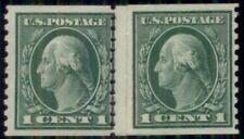 US #443 1¢ green, Coil Paste-Up pair over Plate No. 6958, LH, Weiss certificate