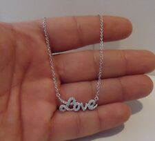 WORD LOVE NECKLACE PENDANT W/ 1 CT LAB DIAMONDS/ 925 STERLING SILVER / 18''