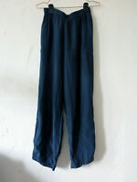 Grizas Bamboo and Silk Trousers UK 8/10 S Navy Blue Flowing Elasticated Waist
