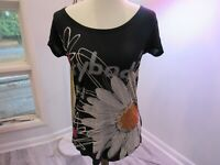 Desigual black short sleeve shirt top with large flower print size s/m ?
