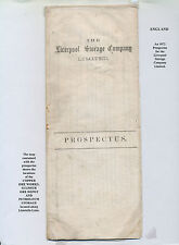 32 - England 1872 Prospectus For Liverpool Storage Co, Includes Map Showing