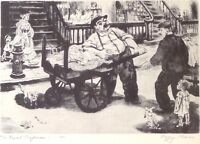 PEGGY BACON The Rival Ragmen 1939 vintage drypoint etching Lithograph art print