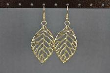 "gold leaf cut out earrings lightweight dangle leaves 2.5"" long filigree"