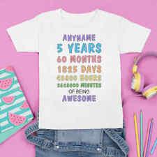 Personalised Birthday Age Tshirt. 100% Cotton child/kids/toddler/baby