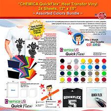 "CHEMICA QUICKFLEX HEAT TRANSFER VINYL, 24 SHEETS,12""x15"", ASSORTED COLORS BUNDLE"
