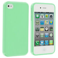 Mint Green TPU Rubber Glossy Solid Skin Case Cover for iPhone 4 4G 4S