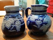 2 Vintage Salt Glazed Jugs Pitchers Grès d'Alsace Betschdorf French Pottery