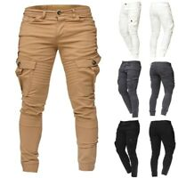 Men's Jogging Sports Outdoor Pleated Cargo Pants Multi-pocket Trousers Casual D