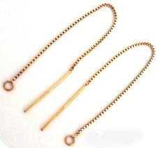 "3"" 14k Yellow Gold Filled box chain earring wire ear threader w/ loop Ge17 10pcs"