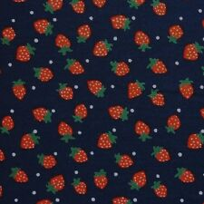 Navy Blue 100 Cotton Red Strawberries Polka Dot Fabric