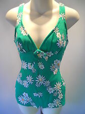 NOS ViNTAGE 60s GREEN FLOWER ONE PiECE SUN BATHiNG SWiMSUiT ROCKABiLLY vLv 14 36