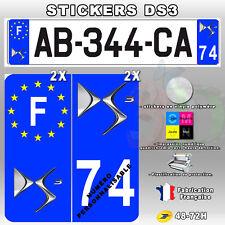 Stickers Plaque D'immatriculation Logo Citroën DS3 - 4 pièces 45x100 mm