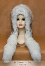 Saga Blue FOX Fur Hat Eskimo White Winter Chapka Blaufuchs Fellmütze Pelzmütze