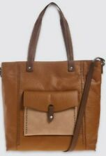 M S Collection Colourblock Faux Leather Tote Bag Cross Body Tan Mix Bnwt