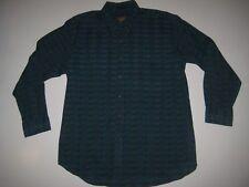 RALPH LAUREN Boy Scout Tag Mens long sleeve BUTTON front Shirt LARGE blue Plaid