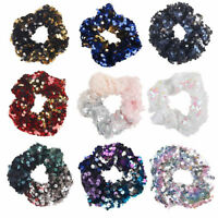 Women Girls 12x Mermaid Sequins Scrunchie Elastic Ponytail Holder Hair Ties Band