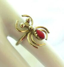 VINTAGE STERLING SILVER SPIDER  RING w/ CORAL SIZE 5