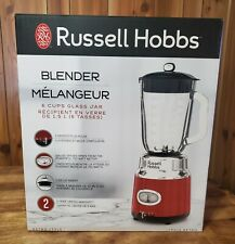 Russell Hobbs BL3100RDR Retro Style 6-Cup Blender, Glass Jar, Red, New, Open Box