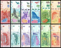 ARGENTINA FULL SET 6 Pcs 20, 50, 100, 200, 500, 1000 PESOS 2017/2019 NEW-UNC