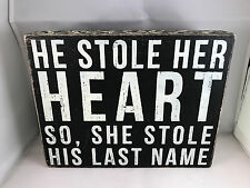 """Primitives by kathy """"last name"""" box sign rustic lodge cabin charm 10"""" x 8"""""""