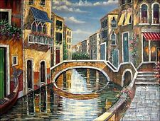 Quality Hand Painted Oil Painting Venice Waterway with Brick Bridge 36x48in