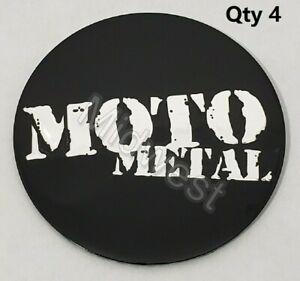 Set of 4 New Moto Metal Gloss Black Wheel Rim 60mm Center Cap Logos