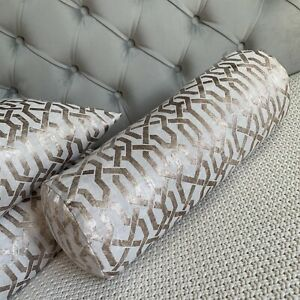 """16""""x6"""" Cushion Bolster 100% Duck Feather & Geo Cut Velvet Fabric Champagne Gold"""
